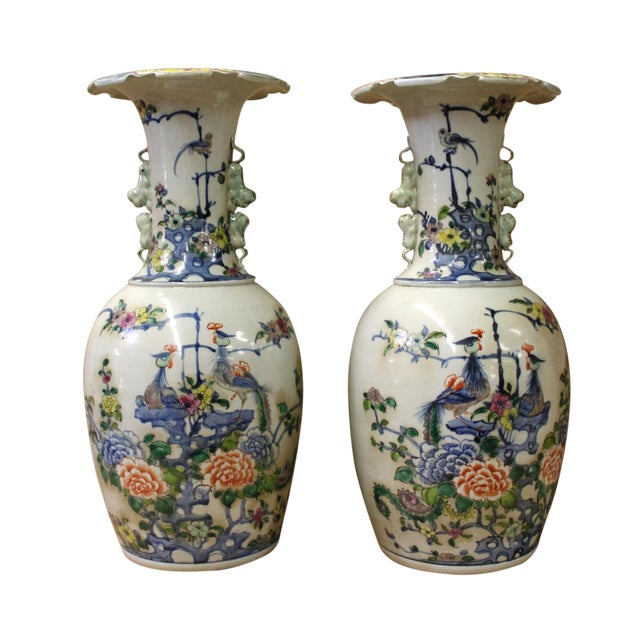 Pair Chinese Off White Porcelain Flower Birds Foo Dogs Accent Vases For Sale