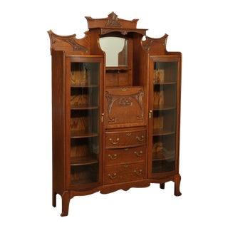 Antique Victorian Oak Double Side by Side Bow Glass Bookcase, Secretary Desk For Sale