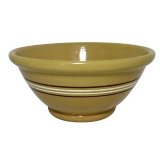 Large Antique Mocha Yellow Ware Kitching Mixing Bowl For Sale