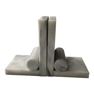 Vintage Marble Modern Bookends - a Pair
