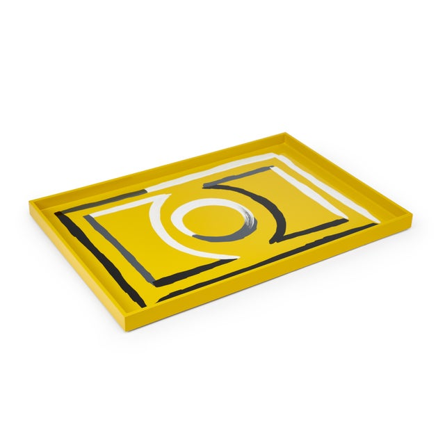 Contemporary Luke Edward Hall Collection Large Etienne Tray in Yellow For Sale - Image 3 of 3