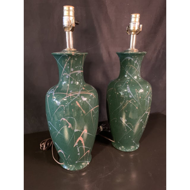 Contemporary Vintage 90's Splatter Paint Lamps - a Pair For Sale - Image 3 of 6
