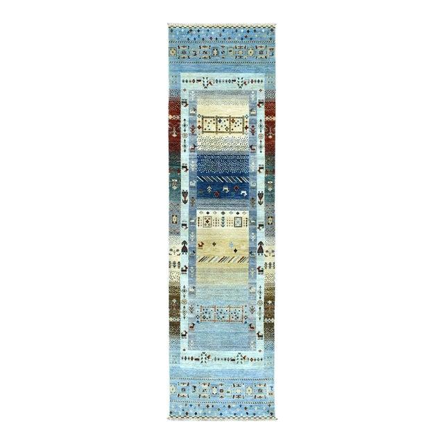 Denim Blue Kashkuli Gabbeh Pictorial Wool Hand-Knotted Runner For Sale