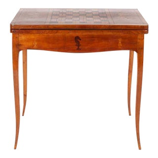 19th Century English Traditional Fruitwood Game Table With Inlay For Sale