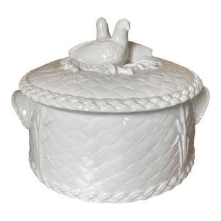 Royal Worcester White Basketweave Bird Casserole Dish For Sale