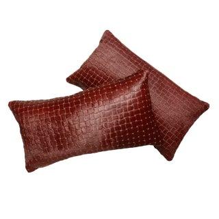 Burgundy Laser Cut Cowhide Lumbar Pillows For Sale
