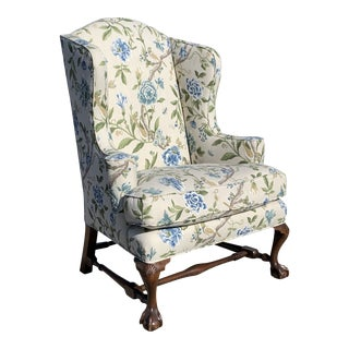 English Style Traditional Wingback Chair Floral Motif For Sale