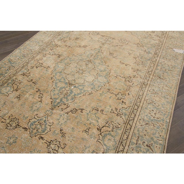 Traditional Vintage Distressed Persian Tabriz Rug For Sale - Image 3 of 6