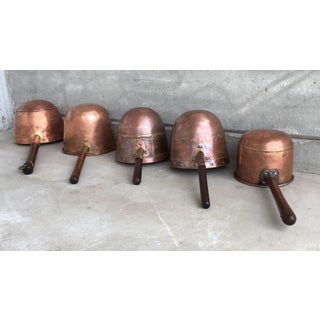 Collection of Five Antique Spanish Handmade and Forged Copper Cook Pans Preview
