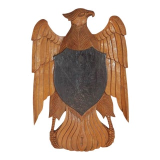 Antique American Hand-Carved Wood Eagle For Sale