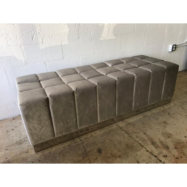 Mid 20th Century Harvey Probber Style Biscuit Tufted Grey Velvet and Steel Bench or Ottoman For Sale - Image 5 of 13