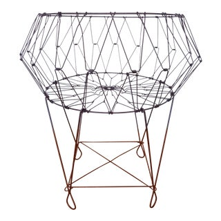 1960s Industrial Wire Folding Laundry Basket For Sale
