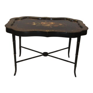 Hand Painted Tray Top Accent Table