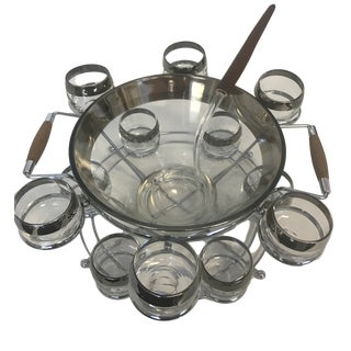 Dorothy Thorpe Style Vintage Mid-Century Modern Punch Bowl and Glasses Set - 14 Piece Set For Sale