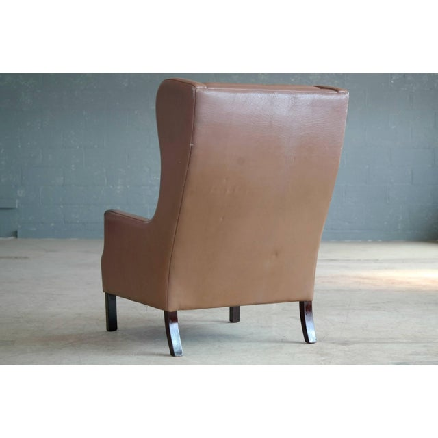 Georg Thams Wingback Chair in Cappuccino Colored Leather Borge Mogensen Style For Sale In New York - Image 6 of 9