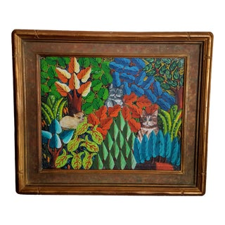 "Early 20th Century Antique ""Three Cats in a Stylized Jungle"" Oil Painting For Sale"