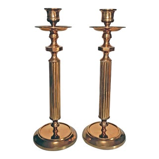 Vintage Gatco Hollywood Regency Solid Brass Candle Holders - a Pair For Sale