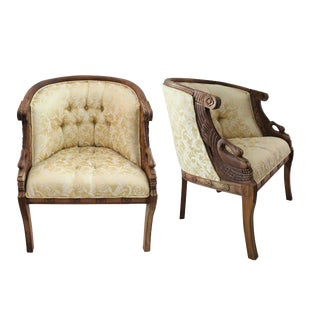 French Swan Carved Mahogany Bergere Chairs - A Pair