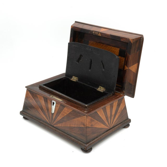 Wood Lovely Pagoda Shape Box With Sunburst Marquetry, English, Circa 1850. For Sale - Image 7 of 11