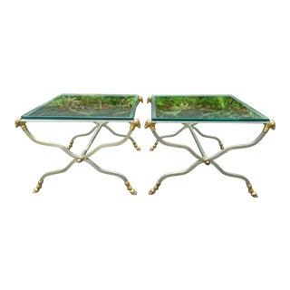 Italian Maison Jansen-Style Steel & Gilt Bronze Rams Head Glass Top Side Tables - a Pair For Sale