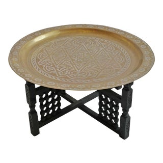 Original Round Brass Moroccan Tray Table For Sale