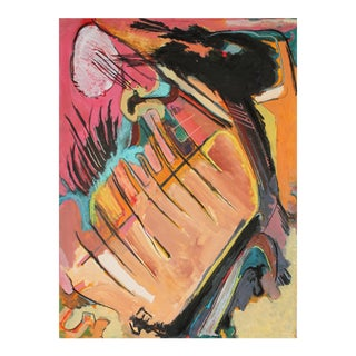 Abstract Expressionist Painting in Pink and Orange, Circa 1960s