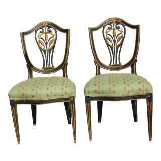 18th C. Continental Shield Back Painted and Gilded Side Chairs - a Pair For Sale
