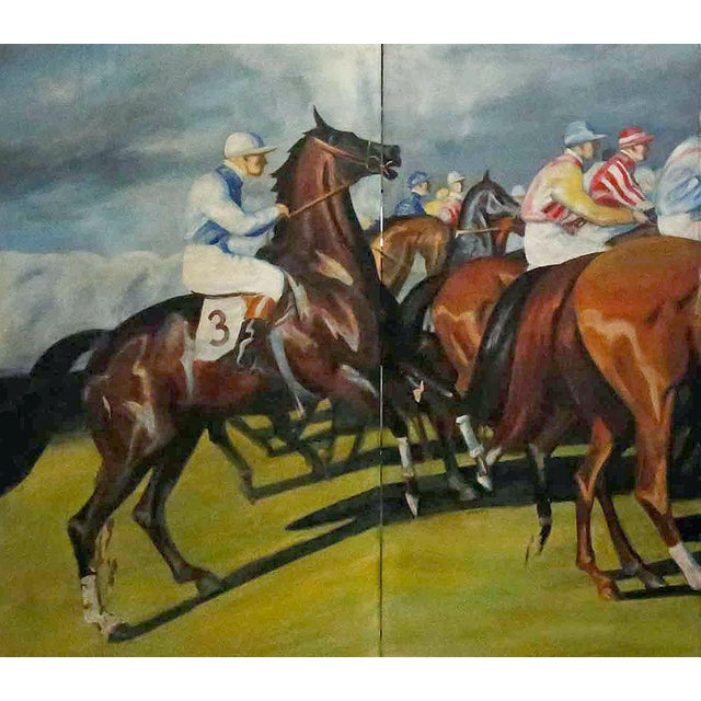 Large folding screen, with four panels, beautifully rendered, hand painted horse racing scene on stretched canvas.