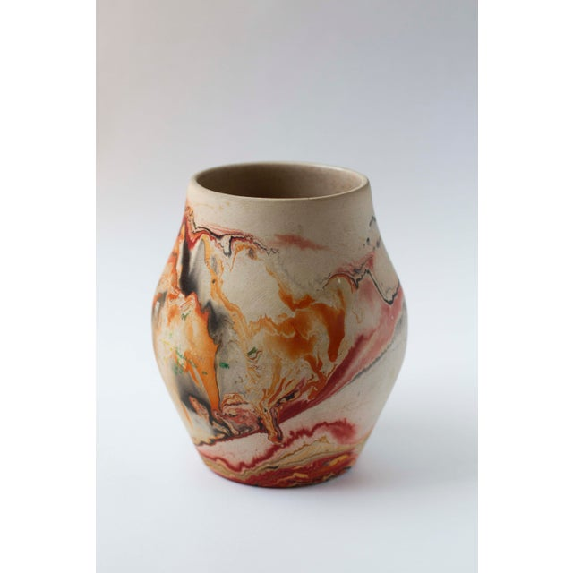 Vintage Red & Orange Nemadji Pottery Vase - Image 2 of 8