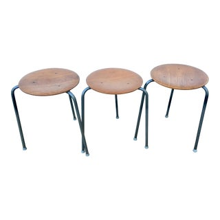 1950s Vintage Fritz Hansen for Arne Jacobson Dot Stacking Stools- Set of 3 For Sale