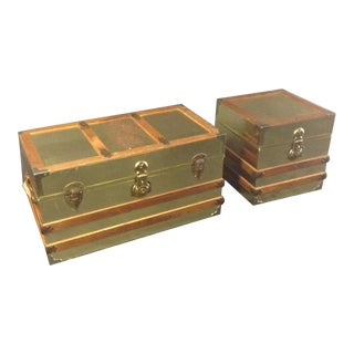 1970's Cedar Trunks With Oak Trim-a Pair For Sale