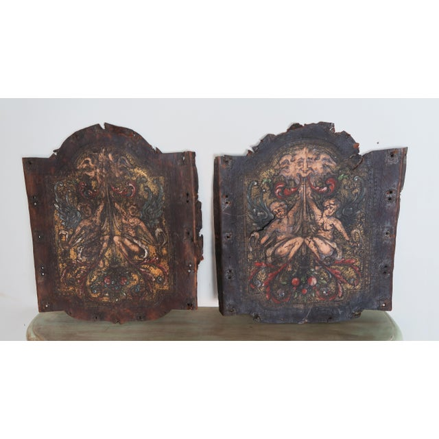Pair of 19th century Spanish embossed painted leather panels that were originally the upholstery to a pair of antique...