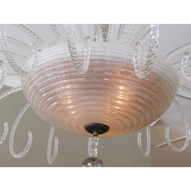 Mid-Century Modern A Shapely and Good Quality Murano 1950's 3-Light Waterfall Chandelier For Sale - Image 3 of 6