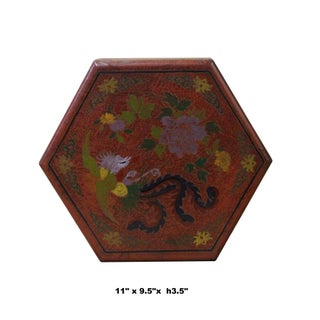 Chinese Distressed Brown Red Bird Graphic Hexagon Shape Box Preview