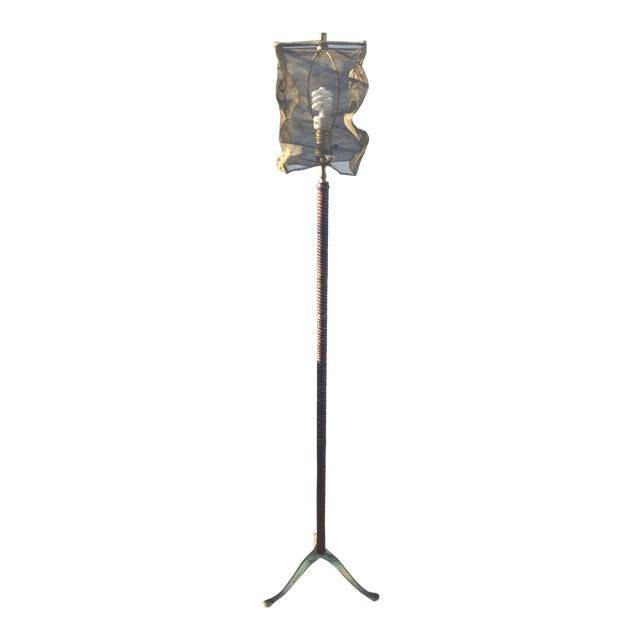 Vintage Floor Lamp With Screen Shade - Image 1 of 8