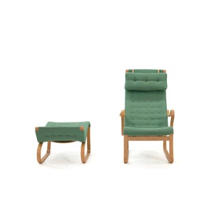 1970s Vintage Bruno Mathsson Design Migo Green Wool Chair & Ottoman Preview