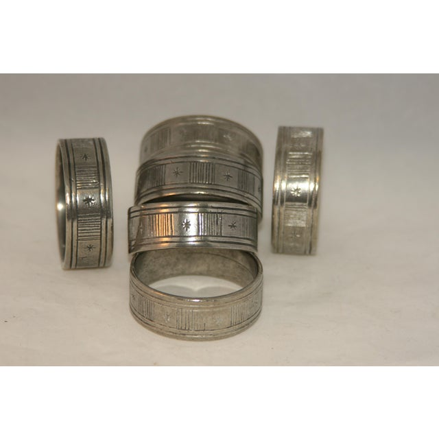 Gray Artisan Hand Forged Norwegian Pewter Napkin Rings in Original Box - Set of 6 For Sale - Image 8 of 8