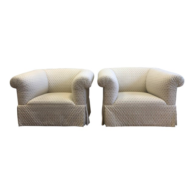 Custom Rolled Arm Swivel Chairs - a Pair For Sale