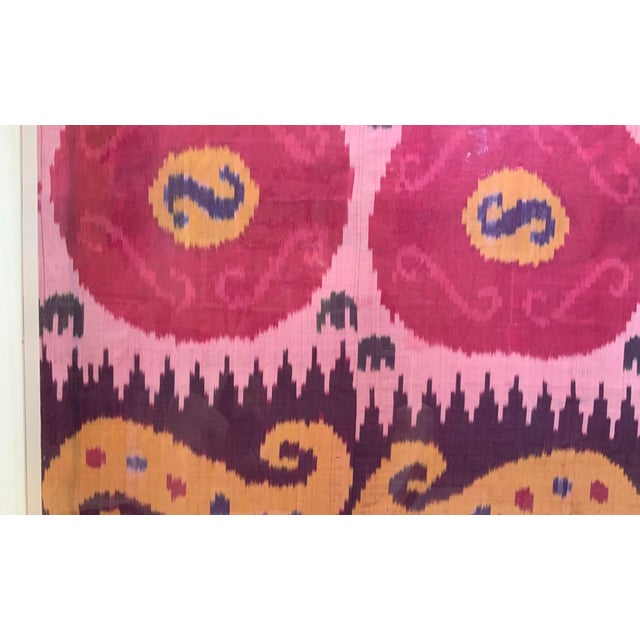 Antique Silk Ikat Display in Lucite Shadowbox For Sale - Image 4 of 13