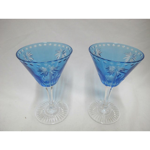 Hand crafted William Yeoward martini glass set of 2 in Alexis pattern, blue crystal with palm tree design. Each glass...