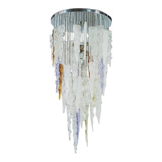 Outstanding Mid Century Modern Murano Icicle Chandelier by Mazzega For Sale
