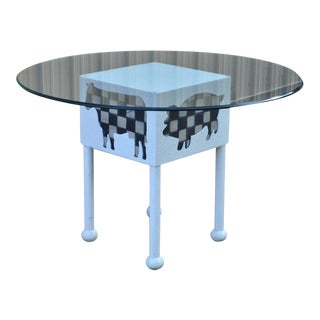 Vintage Whimsical Cow Pig Rustic Country White Painted Iron & Glass Dining Table For Sale