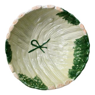 Shabby Chic Green Ceramic Asparagus Bowl For Sale