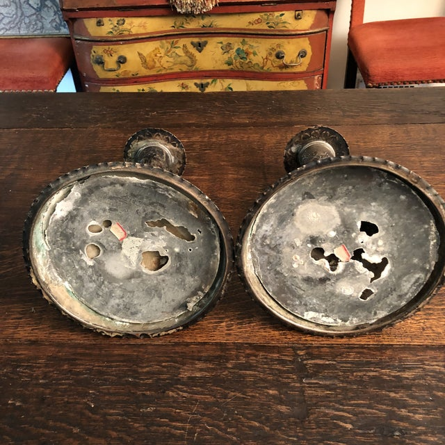 18th Century Silver on Copper Repousse Swedish Candle Holders - a Pair For Sale - Image 9 of 13