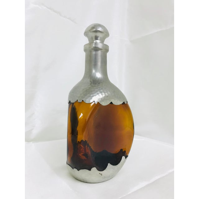 KMD Royal Holland Daalderop Vintage Dimple Brown Bottle Glass & Pewter Decanter For Sale - Image 4 of 8