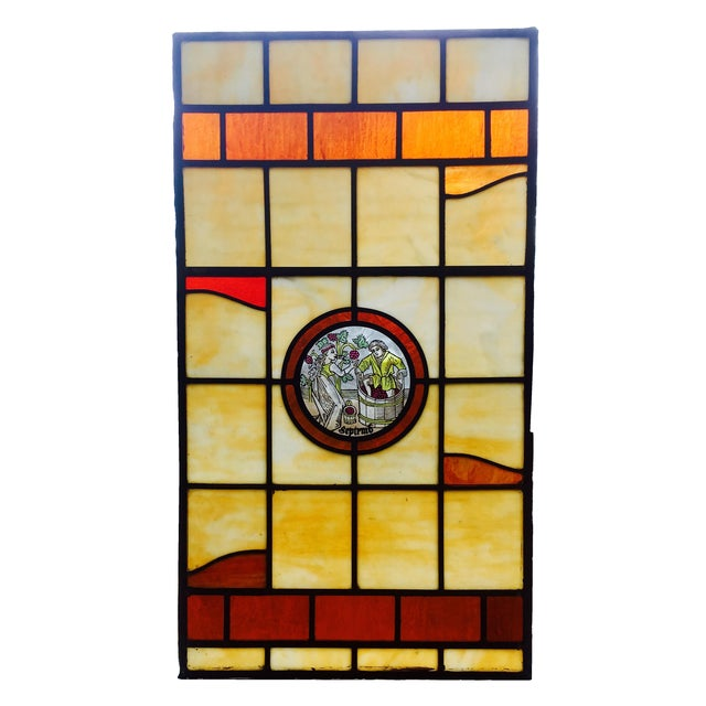 Vintage Stained Glass Harvest Panel - September - Image 1 of 7