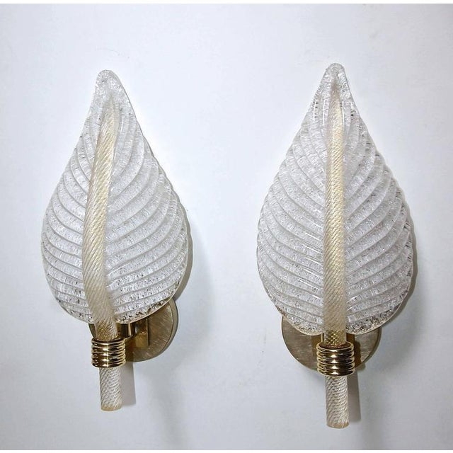 1950s Mid-Century Modern Barovier Murano Rugiadoso Leaf Wall Sconces - a Pair For Sale - Image 10 of 11