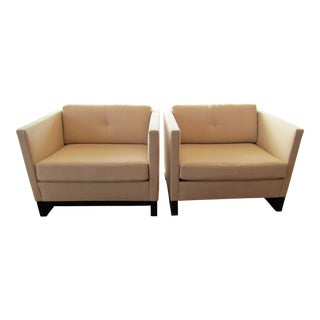 Modern Domicile Bolier & Co in Cream Upholstery & Oak Lounge Chairs- A Pair For Sale
