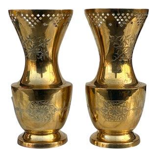 Vintage Brass Etched Floral Motif Footed Vase - a Pair For Sale