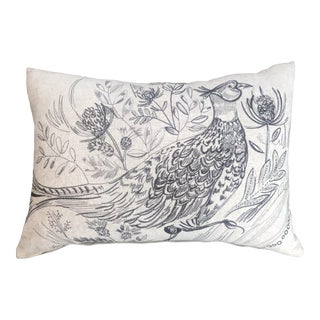Scottish Wool Embroidered Beige Pheasant Pillow (New/Right Facing) For Sale